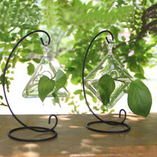 Iron stand flower pots planters crystal glass vases desktop decoration cheap vases for green plants fish tank aquarium supplies