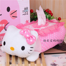 Kawaii Lace Plush Hello Kitty Tissue Cover Case Seating Cartoon Pink Tissue Box Holder Tissue Paper Pumping Napkin Storage Box(China)