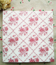 Table tissue napkins paper printed red rose Grid handkerchief decoupage wedding serviette birthday party cocktail decor cup mat