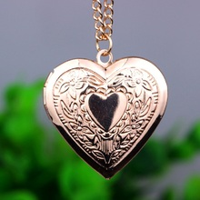 New Heart To Heart Photo Can Open Locket Necklaces Silver Gold Pendants Sweater Chain Necklace Jewelry For Lover Gift(China)