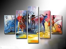 The African Impression 100% Handmade Modern Music Abstract People Oil Painting on Canvas Wall Art Top Home Decoration Pictures(China)