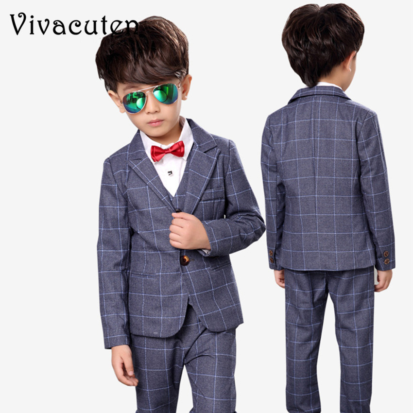 Children Plaid Wedding Suits Blazer Vest Shirt Pants 4PCS Flower Boys Formal Tuxedos School Suit Kids Spring Clothing Set F002<br>