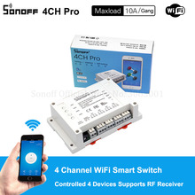 Sonoff 4CH Pro 10A/Gang Wifi Smart Switch 4 Channel Remote Wifi Light Switch Alexa Can Controlled 4 Devices Supports RF Receiver(China)