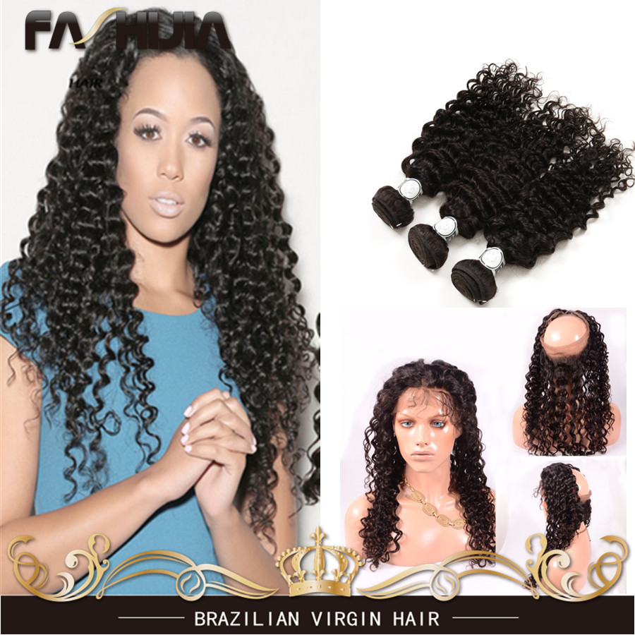 Brazilian Virgin Hair With Closure 7A Lace Frontal Closure With Bundles Deep Wave 360 Lace Band Frontal Closure With Bundles<br><br>Aliexpress