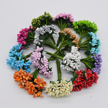 24pcs/lot Artificial Flower Mini Mulberry Stamen Wire Stem/Marriage Leaves Small Stamen Wedding Party Decoration Supplies