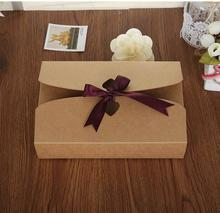 21.5*14*5CM Large Kraft paper Carton Kraft Box Gift Packing Box with ribbon Christmas gift Packaging Storage Item Aircraft box