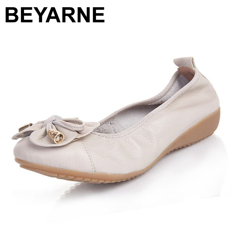 BEYARNE Plus Size(35-42) Women Shoes Genuine Leather Flat Shoes Woman Loafers 2017 New Fashion Casual Single Shoes Women Flats(China)