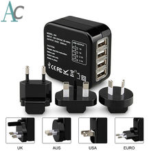 Universal Adapter 4 USB Port Travel Charger USB Socket World Travel AC Power Charger Adaptor with AU US UK EU Plug(China)