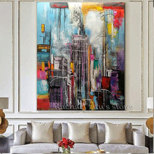 Hand Painted Modern Abstract Oil Painting On Canvas Tall Building Art Picture Wall Art For Living Room Home Decoration Pictures(China)