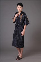 Chinese long Men's Satin Silk home Robe  Embroidery male Kimono Bath Dressing Gown Dragon nightgowns pyjamas  sleepwear