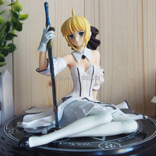 2015 NEW Anime Fate stay night  Saber Lily White Dress seated position  Sexy PVC Action Figure Model Toy Doll 14cm brinquedos