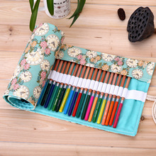 36/48/72 Holes Pencil Case School Canvas Roll Pouch Makeup Comestic Brush Pen Storage pecncil box Estuches School penalty(China)