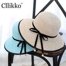 Cllikko moda estilo verano sol playa sombrero Fedora del sombrero flexible  de la paja Sombrero de Panamá mujeres perla decoració. c5275f1b393