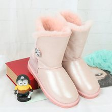 High quality snow boots 2017 winter new Australia's 100% natural sheep fur one warm female boots leather boots free delivery(China)