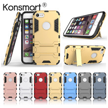 KONSMART Cover For iphone 7 Case Phone Case Back Housing For iphone 7 Plus Fundas Shockproof Protective Shield Kickstand(China)