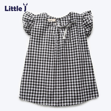 Clearance Summer Girls Dress Black White Plaid Dress Casual Child Girl Clothes Kid Bowknot Short Sleeve Little Girl Dresses 3-7Y(China)