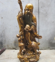 "24""Huge Chinese Bronze gild Longevity god Crane Dragon crutches buddha statue(China)"