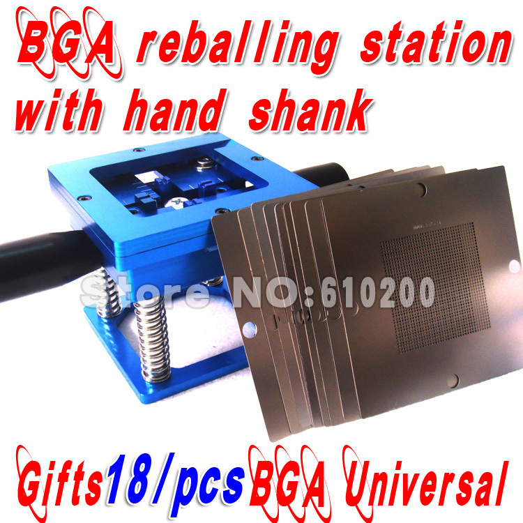 Free shipping Blue BGA reballing kit 90*90mm BGA reballing station with hand shank Gift 18/PCS BGA Universal Stencil<br>