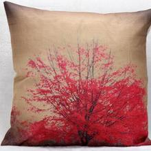 Factory Direct Wholesale Red Flowers Printed Linen Cushion Sofa Chair Seat Waist Cushion Home Bedding Decorative Gifts