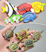 Solid pvc turtle tropical fish marine animal model turtle doll ornaments figure toy 10pcs/set(China)