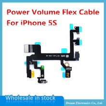 5pcs/lot NEW Power Mute Volume Flex Cable For iphone 5S Button Switch On/Off Flex Replacement Part Free shipping
