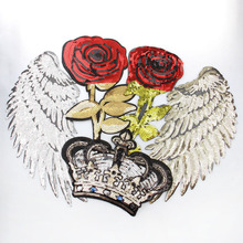 2017 Embroidery Sequins Patches Clothing 1Pcs Angel Wings&Rose Iron On Patches Punk Motif Applique DIY Cloth Accessory Stickers