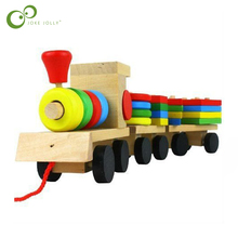 The Shape Of Three Section Blocks Cars Small Tractor Train Environmental Protection Wooden Toy thomas Train toys for children(China)