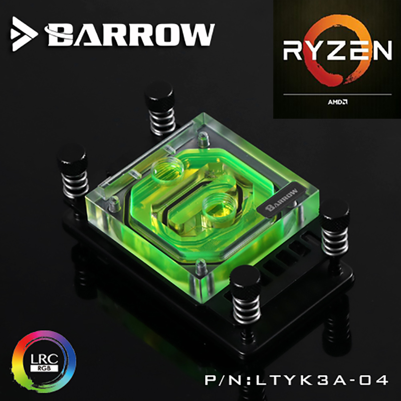Barrow CPU Water Cooling Block use for AMD Ryzen AM4 AM3 Acrylic 0.4MM Microcutting Microchannels RGB Lighting Control LTYK3A-04<br>