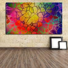 Art abstract colorful CGI digital geometry lines 3D circle Letter Abstract Home decor Oil Painting Canvas drawing Frameless