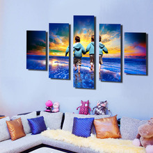 Unframed 5 Panel Modular Painting Sea Scenery Modern Abstatct Wall Art Home Decor Canvas Art Kids Picture HD Tableaux Design