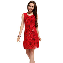 Europe festive red paillette combination christmas formal embroidery dress for women
