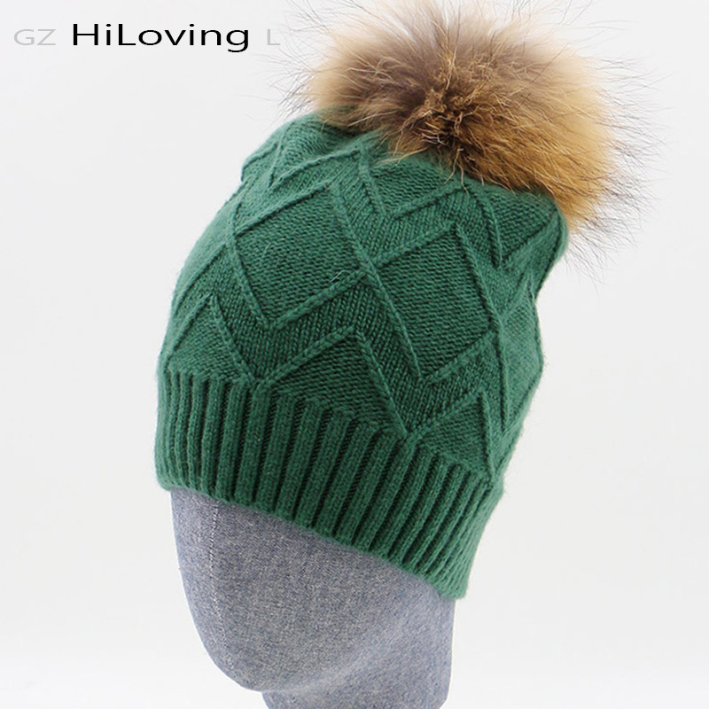 2016 New Brand Women Winter Beanie Hat With 15-16cm Big Pompom Fashion Adult Ladies Wool Gorros Beanie Hats Girl Fur Bobble HatОдежда и ак�е��уары<br><br><br>Aliexpress
