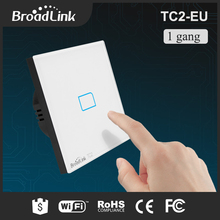 Hot Sale Broadlink TC2 1 Gang Wifi Wall Light Switch EU Standard Phone Remote Control Wireless Touch Screen Panel Smart House(China)