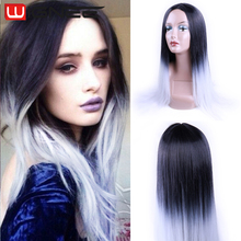 Fashion Ombre Black Ash Grey Color Silky Straight Synthetic Wig Women Long Natural Heat Resistant Hair Wigs Cute Cosplay Wigs