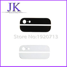 Free shipping Black White Back Rear Housing Part Top and Bottom up down Glass Lens Cover for iPhone 5 5G 5S