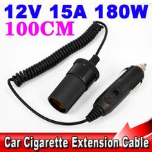 Portable 12V Car Cigarette Lighter Extension Cable Socket Cord Black High Quality Car Styling For Car Truck RV Boat Durable(China)