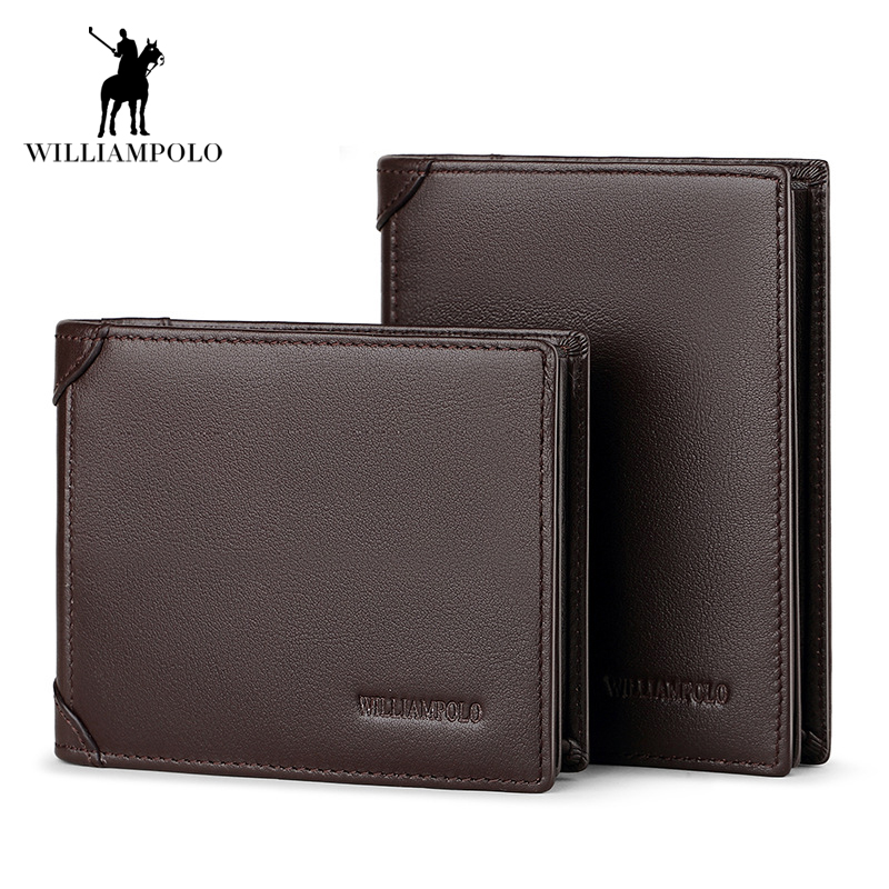 Genuine Leather 3 Bifold Wallet Mens Brand Europen and American Style Small Wallet Short Design Cowhide Coin Purse Card Holder<br>