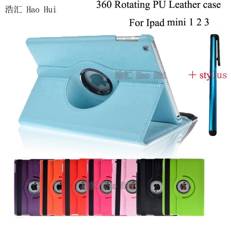 Cover For Case Apple iPad mini 1 mini 2 mini 3 Retina iPad 360 Rotating Stand Flip Smart PU Leather Case Cover + Free Stylus<br><br>Aliexpress