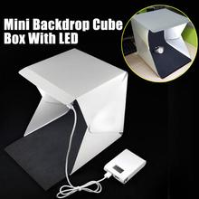 "Light Room Camera Photo Studio 9"" Photography Lighting Tent Kit Mini Backdrop Box Light Accessories Softbox with LED Light"