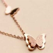 2017 Famous Brand Stainless Steel Rose Gold Color Love Double Butterfly Pendant Necklace Women Gift