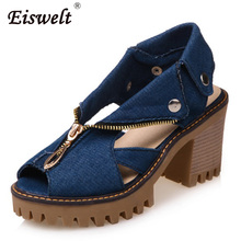 EISWELT 2017 New Summer Fashion Denim High Heel Open Toes Fish Mouth Sandals Women Thick Heel Platform Sandals Shoes#ZQS074(China)
