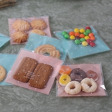 100pcs/lot Skyblue Pink Plastic Self Adhesive Cookie Packaging Bag Wedding Candy Gift Decoration Bag 10*10cm(China)