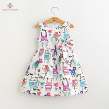Wasailong  New Summer cartoons graffiti big high quality next  baby girl Birthday party dress