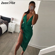 Sexy Women Backless Bodycon Pencil Dress irregular Woman New Arrival satin Deep V Neck Side slit Halter Dress Vestidos