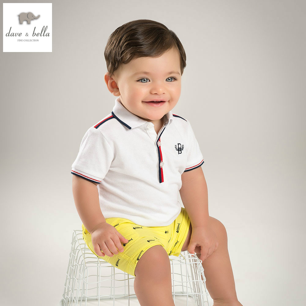 DB5871 dave bella summer baby boys clothing set kids beige sets child infant clothes children clothing sets child cool costumes<br>