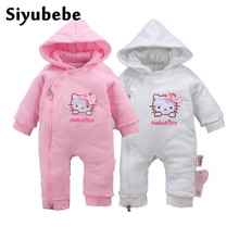 Winter Baby Rompers Cute Hello Kitty Thick Warm Baby Cotton Hooded Jumpsuit Baby Girls Boy Romper Newborn Toddle Clothing 0-12M