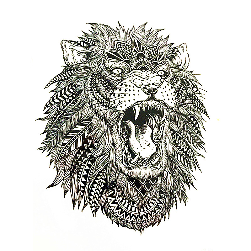 17 High Quality Hot Sale 21x15cm cool tattoo art body The roar of the Lion King Temporary Tattoo Stickers fake tattoo men 1