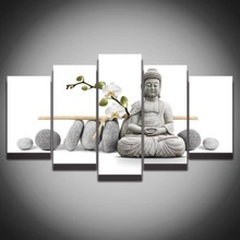 5 Panel Canvas Art Stone Buddha Meditation Artistic Painting Modular Wall Picture HD Prints Artwork for Home Decor Living Room