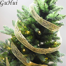 10M Golden Red Mesh Gift Wrap Ribbon Wedding Favor Decor Party Supplies Decoration DIY Bow Christmas Tree Pendant Drop Ornament(China)