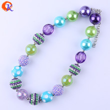 Cordial Design Fashion Chunky Bubblegum Handmade Jewelry Purple/Aqua/Green Necklaces Manufacturer For Amazon Ebay CDNL-410763(China)